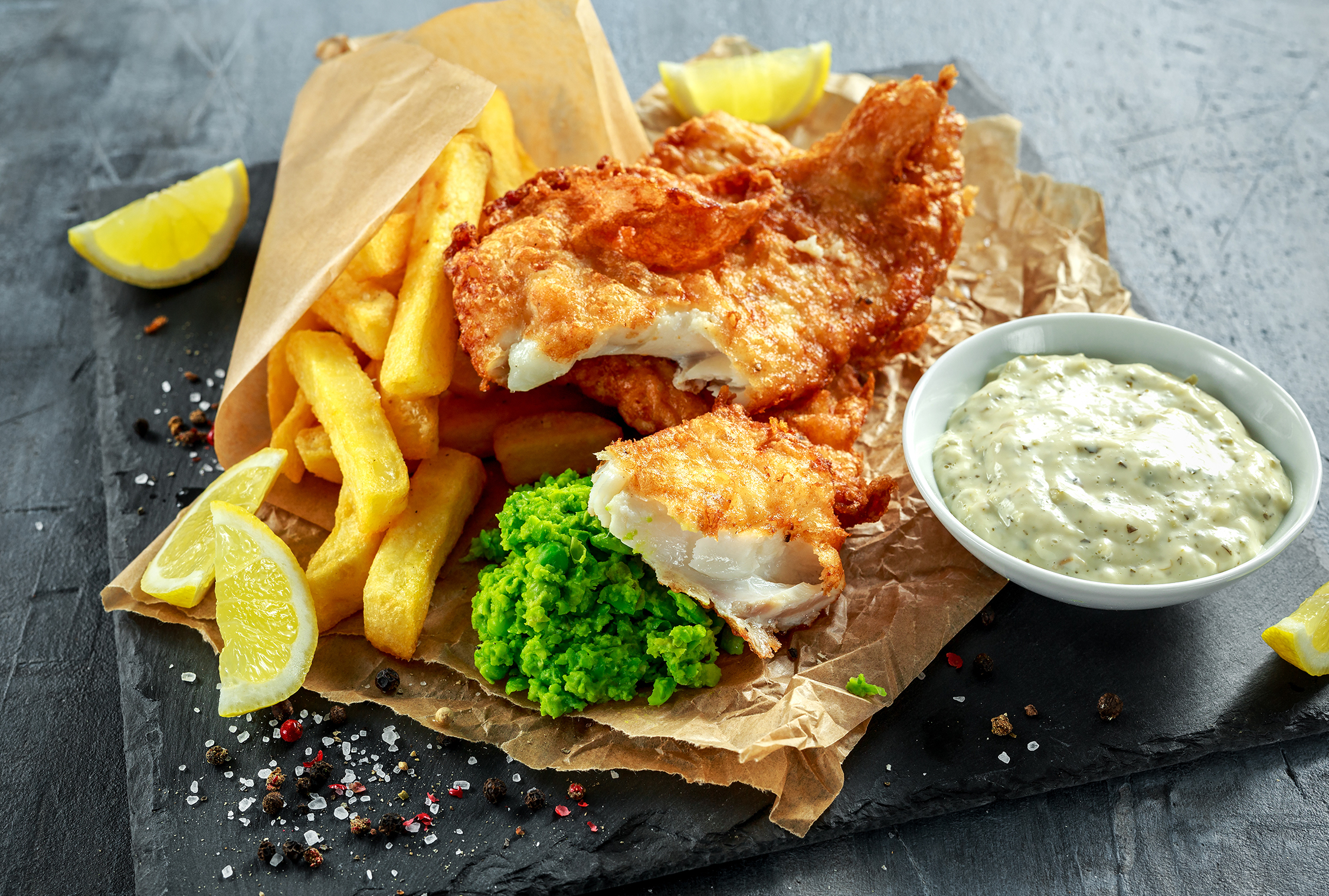 Fish and chips on slate platter