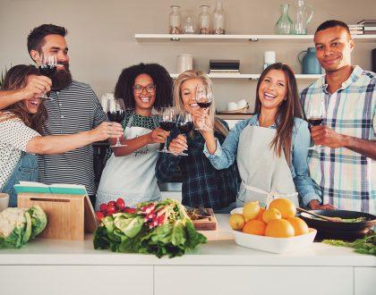 Team toasting with wine