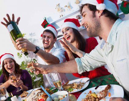 Christmas dinner celebrating