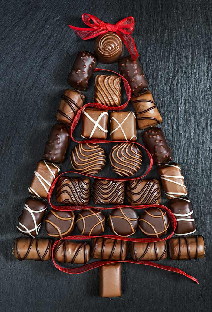 Chocolate Christmas Tree laying on surface